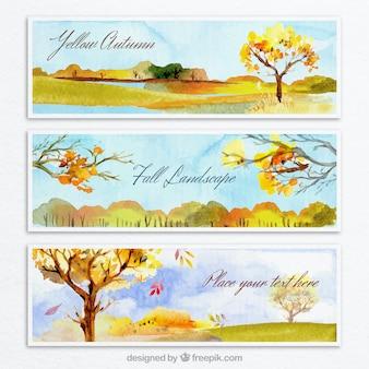 Pintados a mano banners otoñales