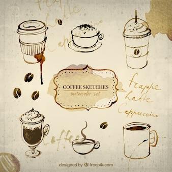 Pintados a mano bocetos de café