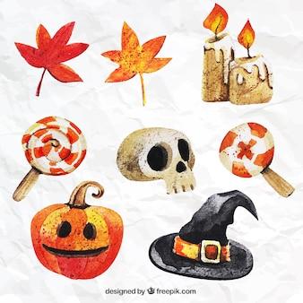 Pintados a mano colección de elementos de Halloween