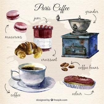 Pintados a mano elementos de café de paris