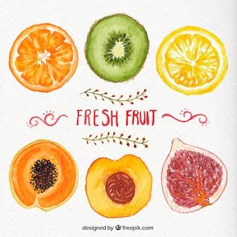 Pintados a mano frutas frescas