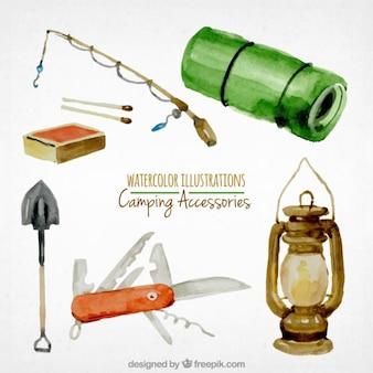 pintados a mano los objetos de camping