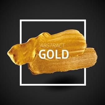 Pintura cepillo del oro con el marco geométrico