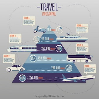 Pirámide con transportes infografía