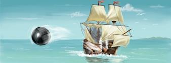 Pirata barco pintado a mano ilustración vectorial