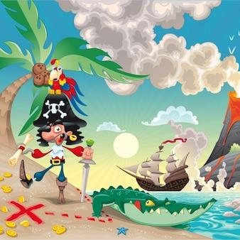 Pirata buscando un tesoro