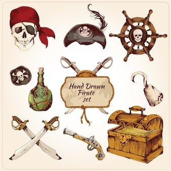 Piratas conjunto de iconos de colores