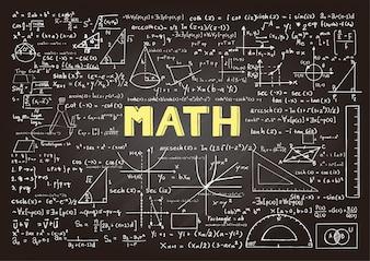 Pizarra con elementos matemáticos