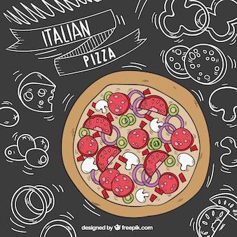 Pizza italiana con pizarra de fondo