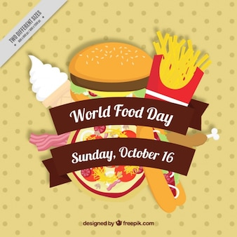 Pizza y hamburguesa para el día mundial de la alimentación
