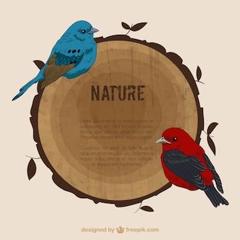 Pájaros Dibujados a mano y un tronco