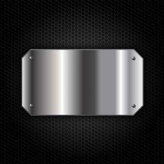 Placa de metal sobre fondo metálico