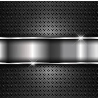 Placa metálica sobre fondo de metal