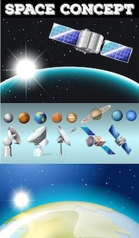 Planetas en el espacio y otros objetos ilustración