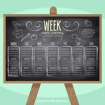Planificación de menú semanal en pizarra