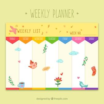 Planificador semanal de colores con elementos de resorte