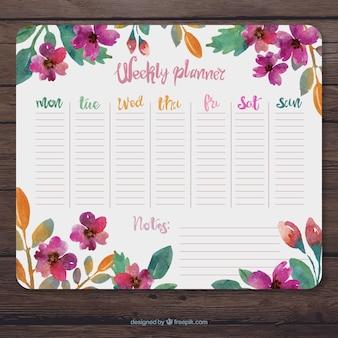 Planificador semanal floral con acuarelas