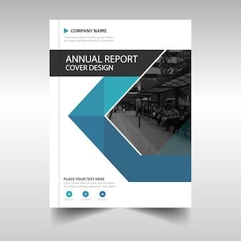 Plantilla azul de cubierta de libro para reporte anual