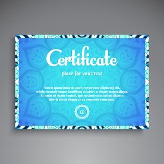 Plantilla azul de diploma de mandala