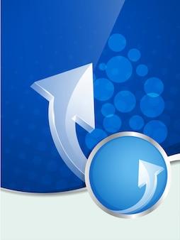 Plantilla azul de flyer con flechas
