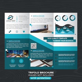 Plantilla azul del folleto del trifold del negocio con estilo azul