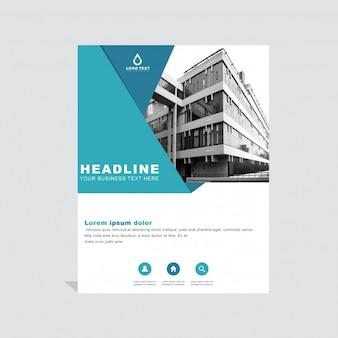 Plantilla azul geométrica de folleto empresarial
