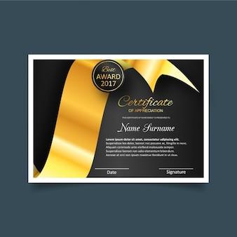 Plantilla bonita de certificado de gratitud en negro y dorado