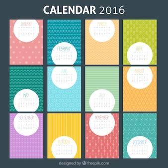 Plantilla colorida de calendario 2016