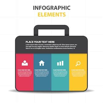 Plantilla colorida infográfica con maleta