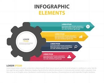 Plantilla colorida infográfica de negocios con engranaje