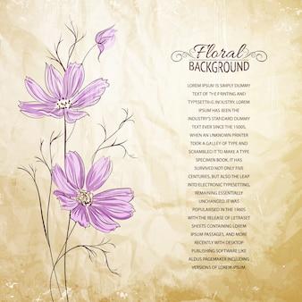 Plantilla con flores violetas