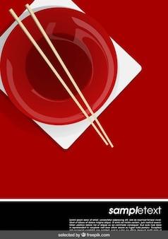 Plantilla con plato chino y palillos