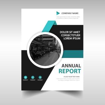Plantilla creativa de la cubierta del libro del informe anual azul