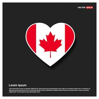 Plantilla de bandera canadiense con forma de corazón