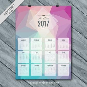 Plantilla de calendario 2017 con formas poligonales