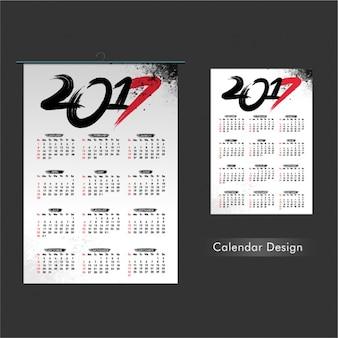 Plantilla de calendario con detalles en rojo