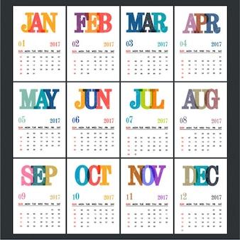 Plantilla de calendario con letras coloridas