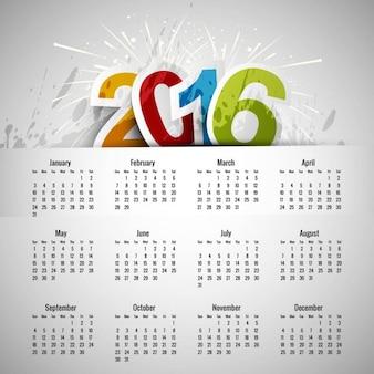 Plantilla de calendario de 2016 colorido