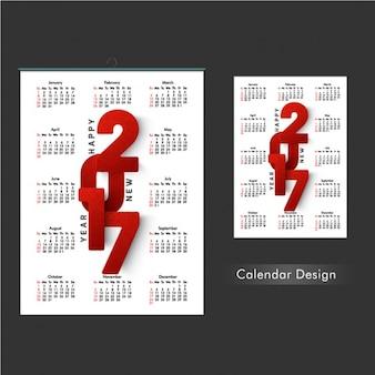 Plantilla de calendario roja y blanca