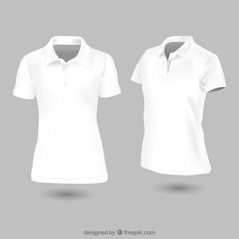Plantilla de camiseta de polo blanca para mujer