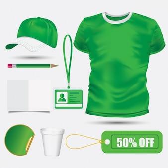 Plantilla de camiseta y gorra verde