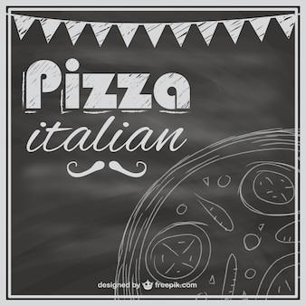 Plantilla de carta de pizzas con textura de pizarra