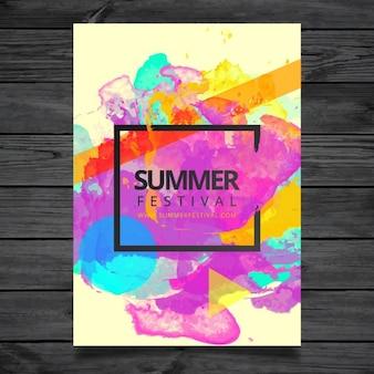 Plantilla de cartel de festival de verano en acuarela