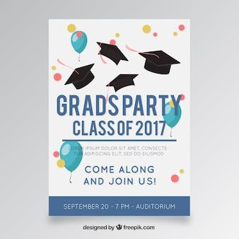 Plantilla de cartel de fiesta con globos y gorros de graduación