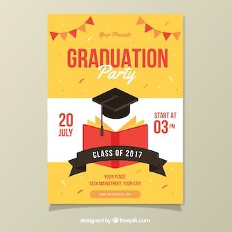 Plantilla de cartel de fiesta con libro y gorro de graduación