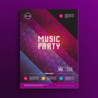 Plantilla de cartel de fiesta de música