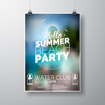 Plantilla de cartel para fiesta de verano en la playa