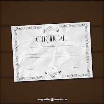Plantilla de certificado arrugado