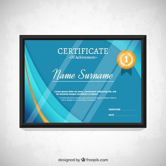 Plantilla de certificado azul moderno