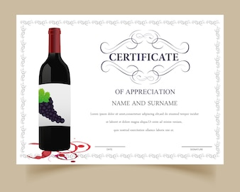 Plantilla de certificado con diseño de vino